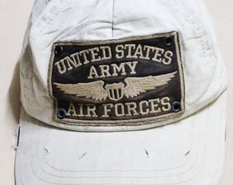VINTAGE THRASHER US army air force distressed skateboard skate baseball cap hat