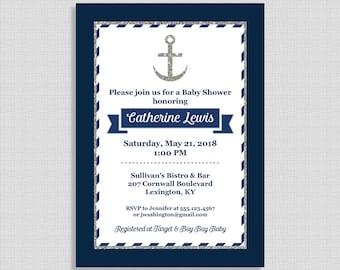 Nautique Invitation Shower de bébé, bleu marine et argent Baby Shower, Ancre Invitation, 5 x 7 po, bricolage imprimable