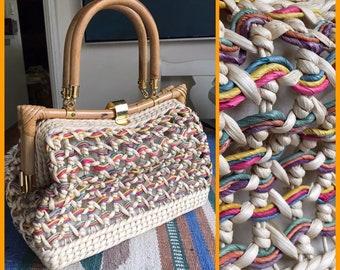 Vintage Wicker Handbag with Wood Handles & Wood Trim