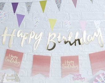 Gold Happy Birthday Bunting - Happy Birthday Gold Banner - Birthday Gold Decoration - Birthday Party Bunting -  Birthday Garland - Flags