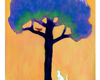 White Cat, Red Cardinal Up a Tree