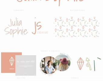 Logo and Brand Suite - Julia Sophie - Pattern, Tag, Social Templates