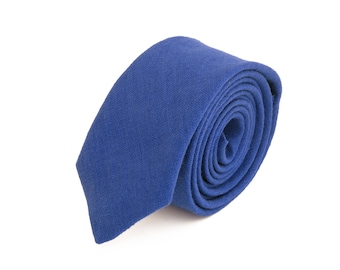 Royal blue linen  necktie, wedding necktie, linen necktie,  groomsmen necktie,  royal blue necktie, royal blue bow tie for men