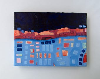Mixed Media, Abstract Landscape, Original Painting, Storm Painting, Small wall art, Shelf art, Abstract painting