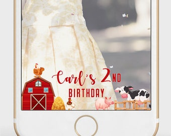 Farm Animals Snapchat Filter | Any Age & Any Event | Pig, Cow, Chickens, Fence, Barn | Party Birthday or other event | Custom Geofilter |