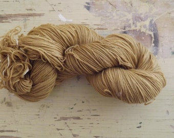 Natural, hand dyed 4 Ply Wool Sock Yarn - Golden Buddliea - 100g