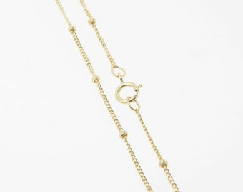 16 Inch - Gold Filled Satellite Chain 1mm w/ 1.9mm Ball Necklace