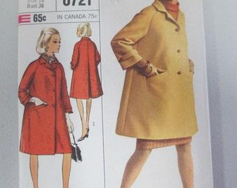 Simplicity 1966 paper pattern coat 6721 size 18  uncut adult coat pattern