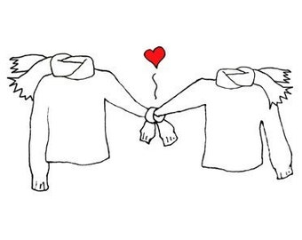 Sweaters Holding Hands in Love with Scarves Notecards