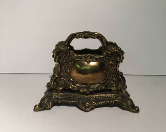 Antique Cast Iron Brass Napkin / Letter Holder