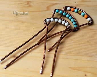 Turquoise hair pin, handmade jewelry, minimalist hairpin, beaded pin, copper hair fork, wire wrapped pin, garnet hair stick, birthday gift