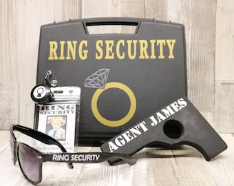 Ring Bearer Security black plastic case box for the ring, personalised sunglasses, personalised agent badge, personalised wooden toy gun