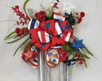 July 4th Lantern Swag, Patriotic Lantern Swag, Lantern Swag, Patriotic Swag,July 4th Swag,Patriotic Decor Summer Lantern Swag,July 4th Deco