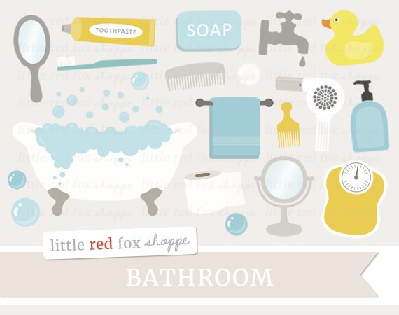 Attractive Bathroom Clipart, Bath Time Clip Art, Claw Foot Tub Clipart, Soap Clipart,  Mirror Clipart, Cute Digital Graphic Design Small Commercial Use