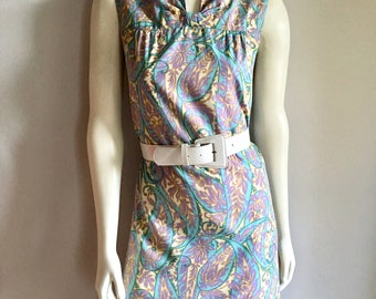 Vintage Women's 60's Cotton Sleeveless, Shift Dress, Paisley, Pastel (M)