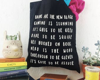 Black Bookish BOOK BAG TOTE for Geeks Nerds. Child or Teenager Monochrome Typography Graduation Back to School Teacher Gift Books Clever