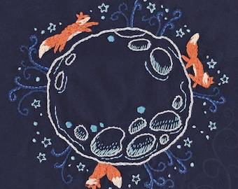 DIY Moonlight Forest Embroidery Pattern PDF download fox moon hand embroidery patterns designs