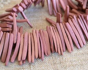 Dark Mauve Sticks Wood Beads Top-Drilled Stick 25x4mm 16 Inches Coconut Palm