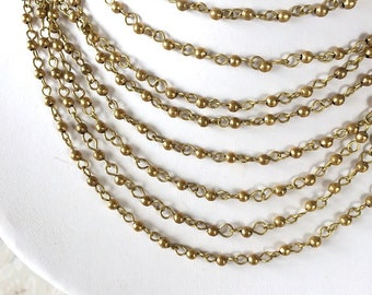 3mm Brass Bead Chain, Brass Rosary Chain, Tiny Bead Chain, 3mm, 5Ft