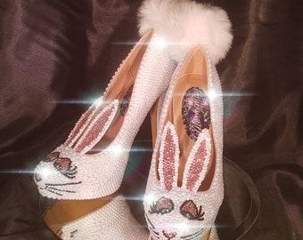 Handmade crystal and pearl bunny heels