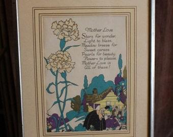 """Vintage Framed """"Mother Love"""" Poem Print"""