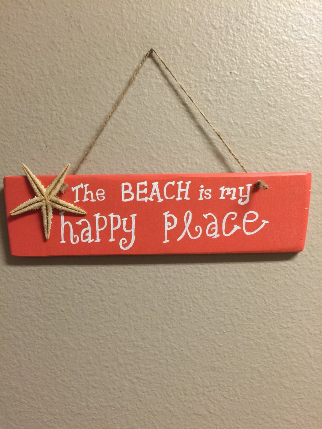 Happy place wooden sign Beach wall decor Coral beach decor