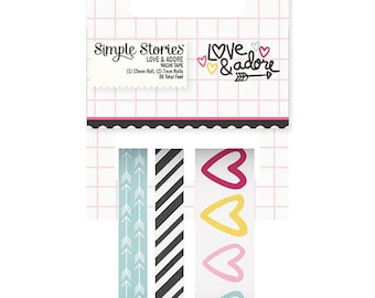 Love & Adore Washi Tape by Simple Stories, Set of 3 Washi Tape