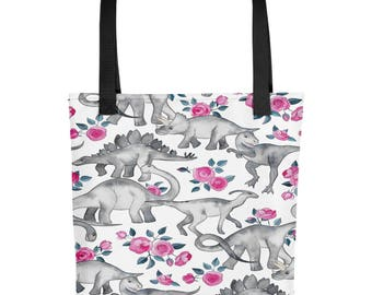 Floral Dino | Dinosaurs, Flowers, Girly | Tote bag