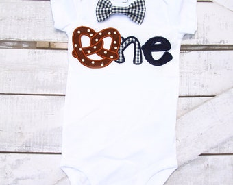 Boy first birthday onesie pretzel 1st birthday navy gingham bow tie  cake smash outfit Boy first birthday Boy number 1 puppy dog first bday