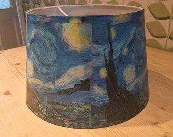 Starry night Vincent Van Gough decoupaged lampshade ooak