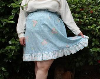 Plus Size - Vintage Floral Paper-Bag Waist Ruffle Hem Skirt (Size 14/16)