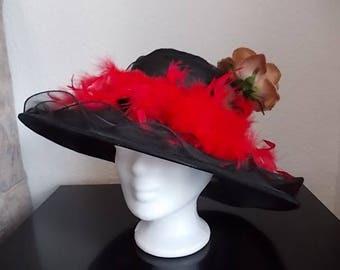 Ladies Hat. Organza Fabric. Feathers and Flower. Spring Summer 2018.