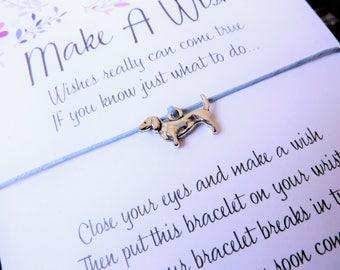 Wish Bracelet - Dachshund Puppy Dog / Dog Charm / Sausage Dog / Puppy Bracelet / Dog Jewellery / Choice of colours / Wish Knots