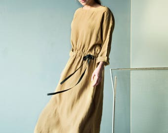 Maxi linen dress in apple cinnamon yellow, linen kimono dress with waistband, chic linen dress, yellow linen dress, kimono linen