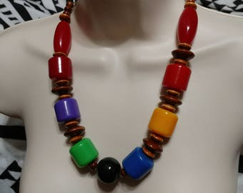 Huge & Chunky,Orange,Purple,Blue,Green,Red Barrel Lucite and Wood Bead Necklace