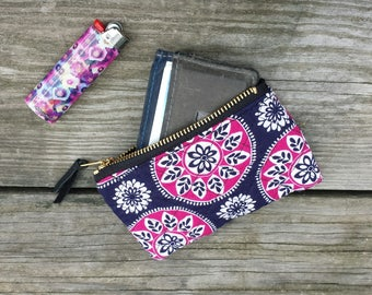 """5"""" quilted zipper pouch make up bag wallet clutch"""