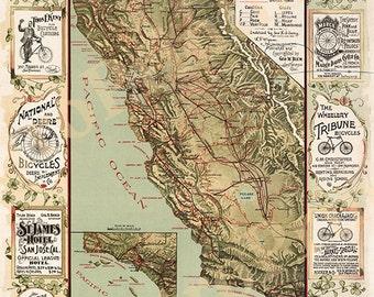 California Bicycle Map 1895 California cyclers map, Antique California wall Map, Old California Map Fine art Print Poster CA0003 Vintage
