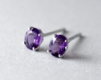 White Gold Purple Amethyst Studs - Oval Cut - Post Earrings, February Birthstone
