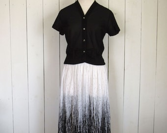 50s Blouse Skirt Set Mid Century Cropped Top Sheer Paint Splat Print Black White Small S