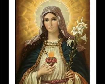 "Sacred Heart of Mary, Religion, Virgin, Maddona, religous art, antique art prints,portrait of Mary, Madonna,  8x10"" canvas art prints"