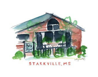 """Starkville Mississippi Restaurant Print -- City Bagel Cafe 8 x 10"""""""