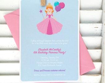 Princess birthday party invitation, first birthday party, royal ball invitation, costume party, girls birthday, toddler birthday, set of 20