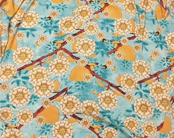 Turquoise Blue and Gold Yellow - Chiffon Fabric, Imported.