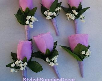 Lavender Boutonniere Lavender Rose Bouquet Lavender Silk Rose Boutonniere Lavender Groomsmen Boutonniere Lavender Men Boutonniere Lavender