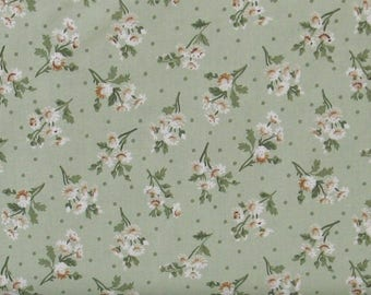 Brown, Tan and Green Flower Sprays on Green Background 100% Cotton Quilt Fabric, Evelyn by Whistler Studios for Windham Fabrics, WIF41983-2