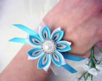 Wedding Corsage / Flower Wrist Corsage / Bridesmaid Bracelet / Kanzashi Flower Bracelet / White and Turquoise Satin corsage / Prom corsage