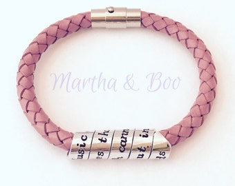 Custom women's leather bracelet, Mother's Day gift, coordinates jewellery, secret message, woven leather, spiral jewelry, handstamped, lady