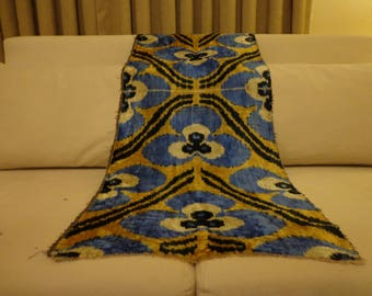 blue polkadot ikat,ikat by yard,polkadot velvet ikat,handloomed ikat,polkadot ikat fabric