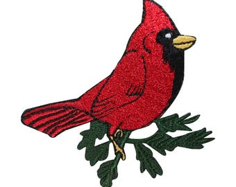 ID 2602 Cardinal On Branch Patch Robin Bird Tree Embroidered Iron On Applique