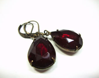 Women, Estate Style, Vintage Style, Siam Ruby Red Glass Pear Shaped Antiqued Brass Earrings